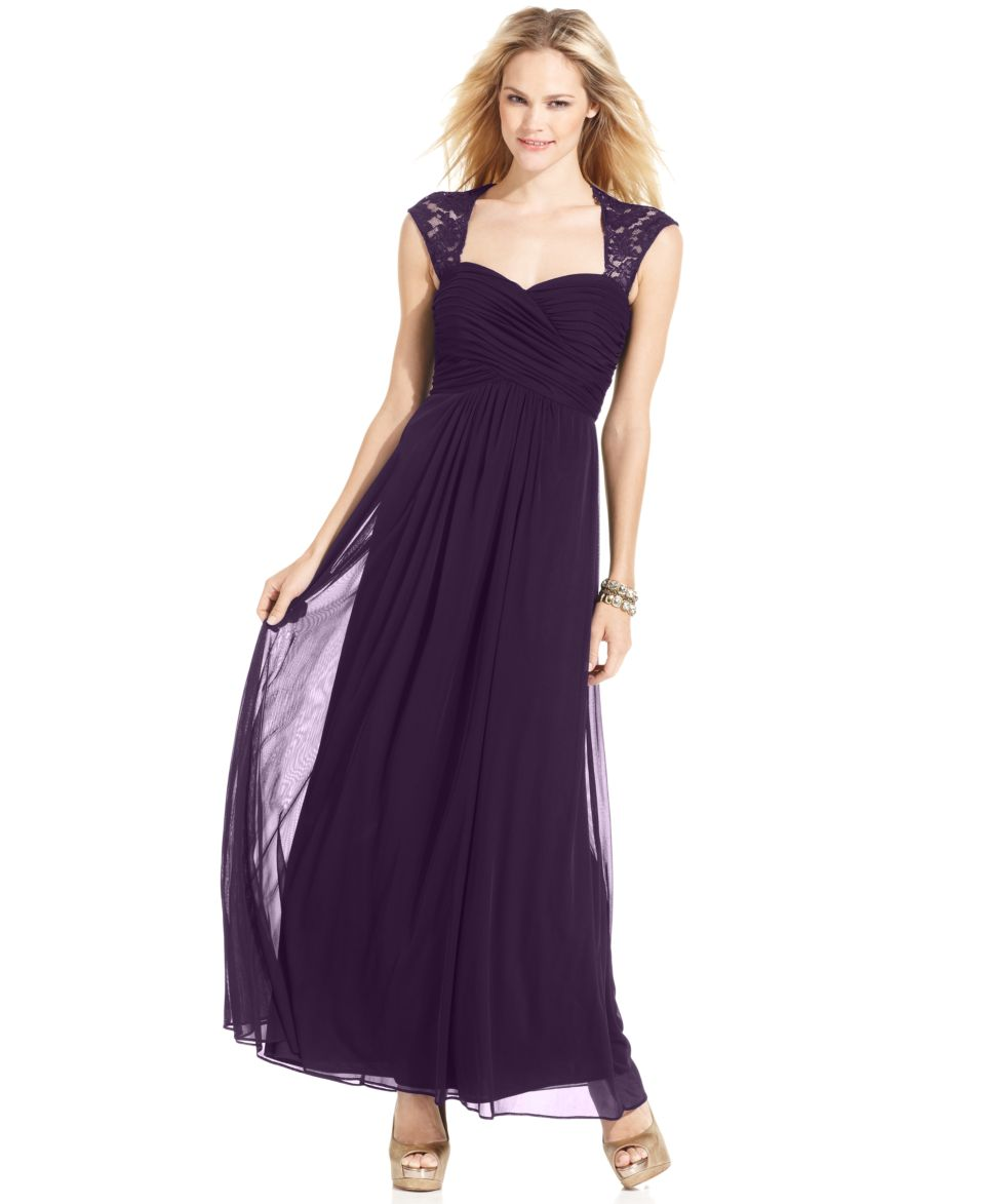 Xscape Petite Dress, Sleeveless Lace Pleated Gown Dresses Women