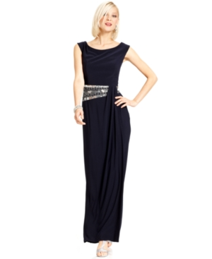 Betsy and Adam Dress, Sleeveless Sequined Beaded Gown