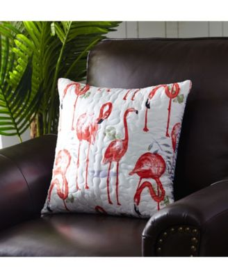 """Fancy Flamingo Quilted Pillow, 18"""" x 18"""""""