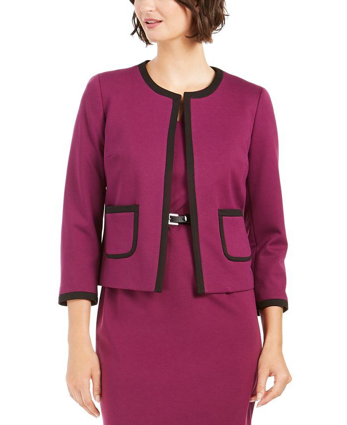 Nine West - Contrast-Trim Open-Front Blazer