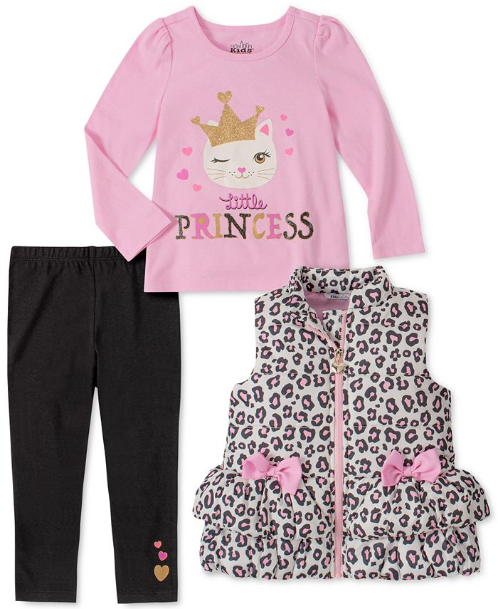 Kids Headquarters - Little Girls 3-Pc. Animal-Print Vest, Princess Top & Leggings Set