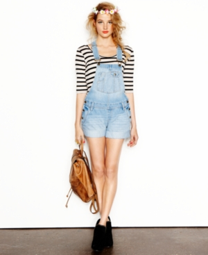 Grane Juniors Shorts, Dark Wash Denim Overalls