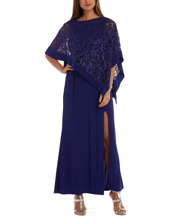 R & M Richards - Glitter Lace Overlay Gown