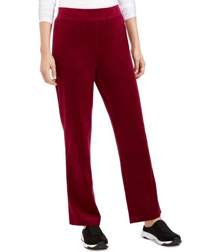 Karen Scott - Petite Velour Pull-On Pants