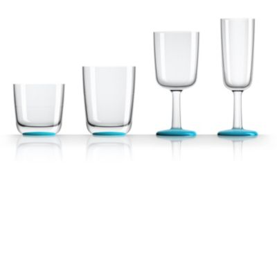 by Palm Tritan Flute Glass with Vivid Blue non-slip base, Set of 2