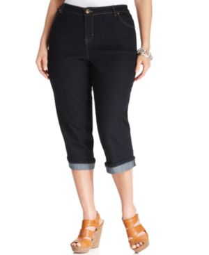 Style & Co. Plus Size Tummy Control Capri Jeans, Rinse Wash