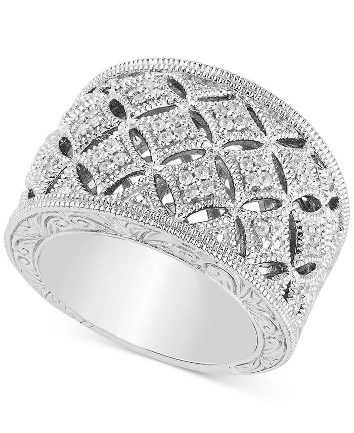 Macy's - Diamond Openwork Statement Ring (1/5 ct. t.w.) in Sterling Silver