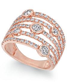 Diamond Bezel Multi-Row Statement Ring (1-1/2 ct. t.w.) in 14k Rose Gold