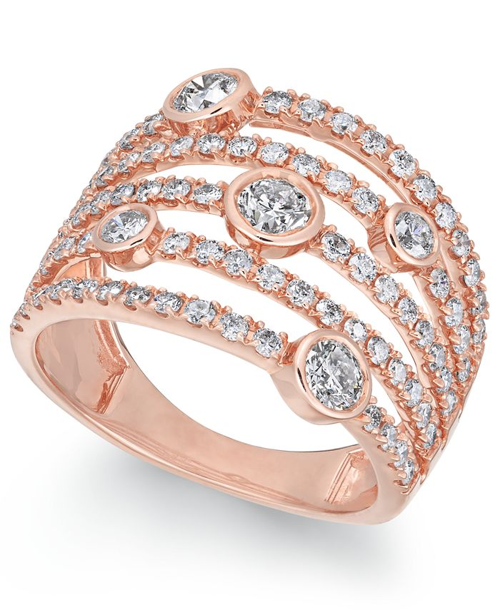 Macy's - Diamond Bezel Multi-Row Statement Ring (1-1/2 ct. t.w.) in 14k Rose Gold