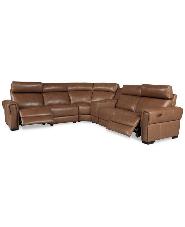 Furniture Josephia 6-Pc. Leather Sectional with 2 Power Recliners and Console, Created for Macy's