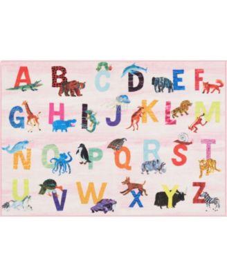 "Elementary Alphabet Decorative Pink 6'6"" x 9'5"" Area Rug"
