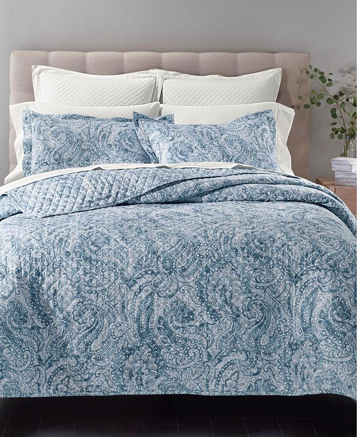 """Charter Club - Damask Cotton Quilted Printed 30"""" x 30"""" European Sham"""