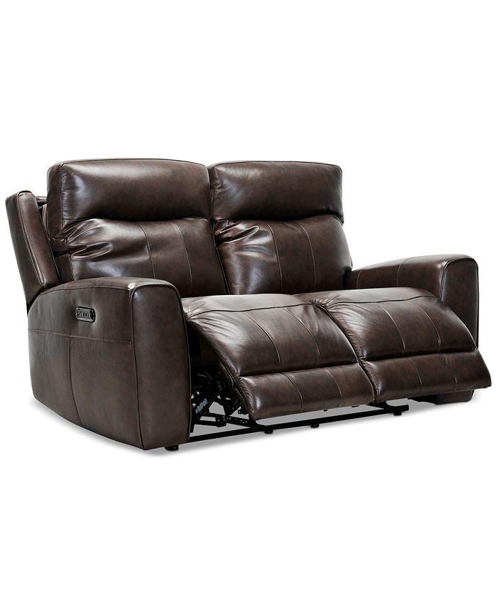 "Furniture - Bitola 61"" Leather Dual Power Loveseat"