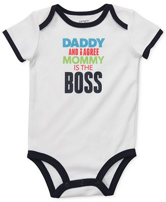 Carter s baby bodysuit baby boys daddy and i agree mommy is the boss