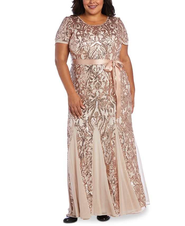 R & M Richards - Plus Size Embellished Godet Gown
