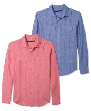 Sean John Shirt Long Sleeve Linen Dobby Shirt