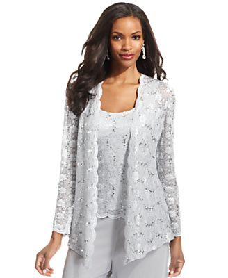 Alex Evenings Jacket Set, Long-Sleeve Sequined Lace