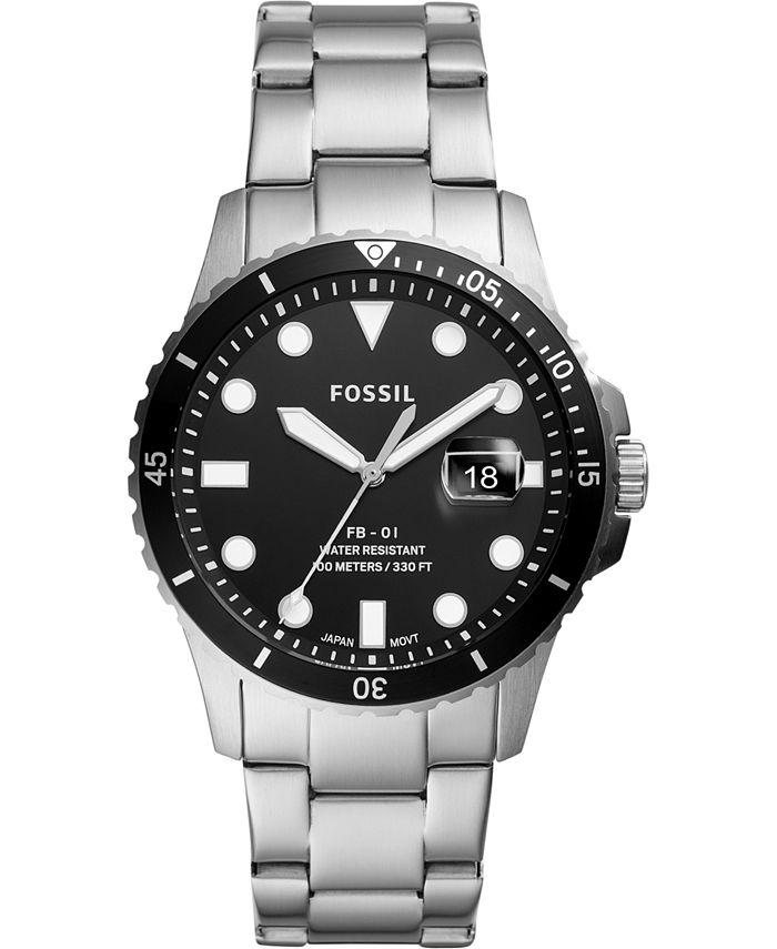 Fossil - Men's Blue Dive Stainless Steel Bracelet Watch 42mm