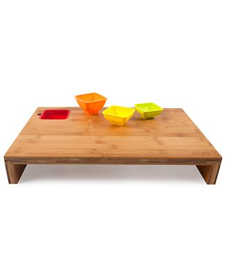 Core bamboo cutting board measurement bowls prep station kitchen gadgets kitchen macy 39 s - Cutting board with prep bowls ...
