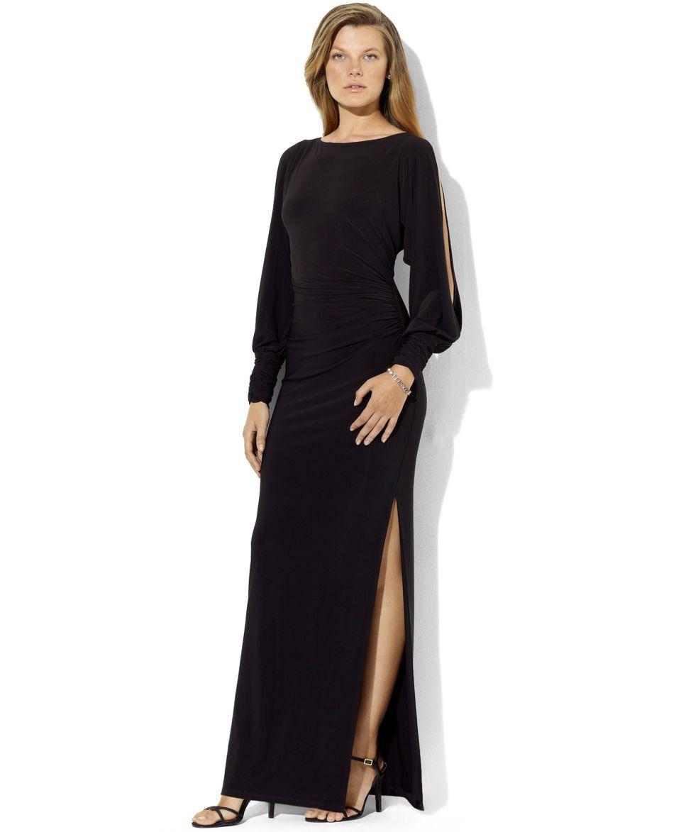 Lauren Ralph Lauren Long Sleeve Split Jersey Gown   Dresses   Women