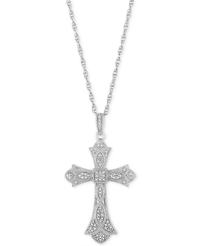 """Macy's - Diamond Cross 18"""" Pendant Necklace (1/5 ct. t.w.) in Sterling Silver"""