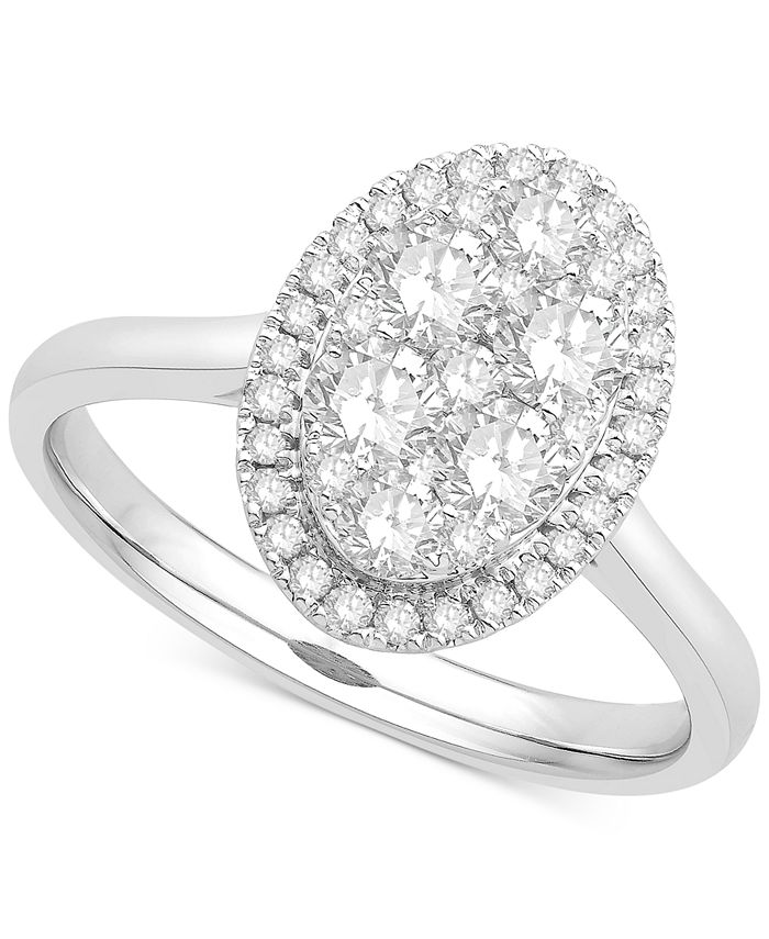 Macy's - Diamond Cluster Halo Ring (1 ct. t.w.) in 14k White Gold