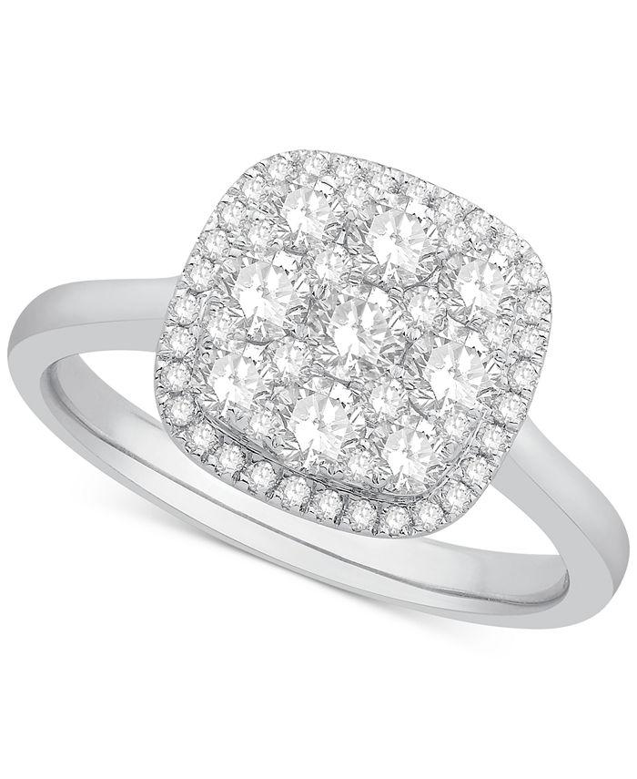 Macy's - Diamond Cluster Halo Ring (1 ct. t.w.) in 14k White Gold