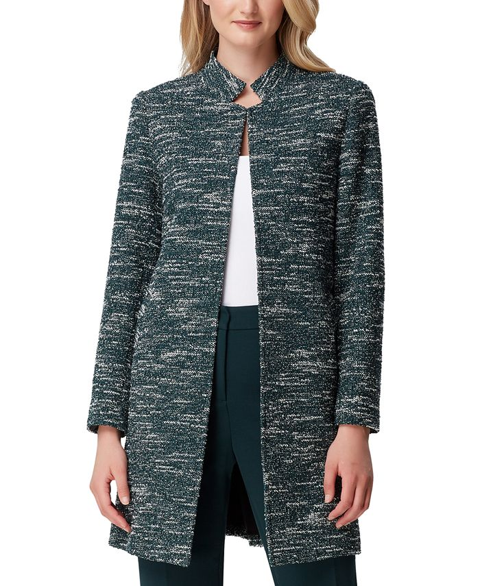 Tahari ASL - Stand-Collar Tweed Topper Jacket