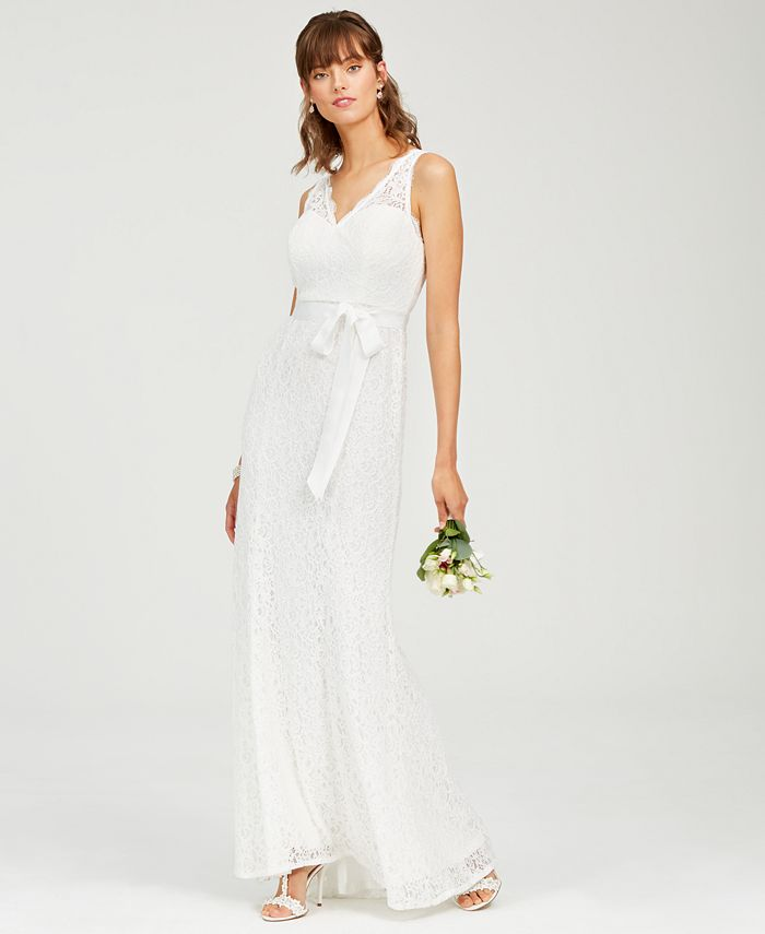 Adrianna Papell - Lace V-Neck Sash Gown