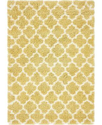 Fazil Shag Faz4 Yellow 5' x 8' Area Rug