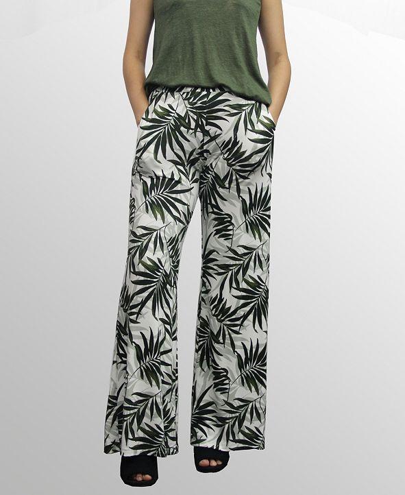 COIN 1804 Womens Leaf Print Wide Leg Pocket Pants