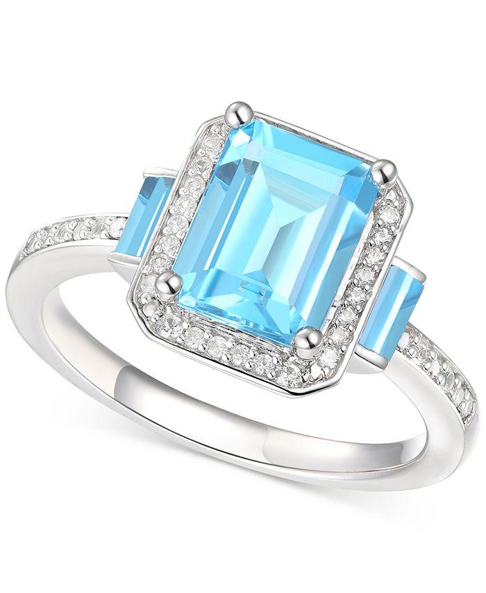 Macy's - Blue Topaz (2-3/4 ct. t.w.) & Diamond (1/6 ct. t.w.) Ring in Sterling Silver