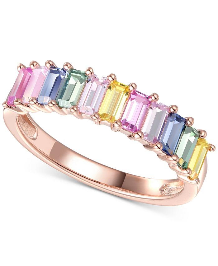 Macy's - Lab-Created Multi-Sapphire Baguette Ring (1-5/8 ct. t.w.) in 14k Rose Gold-Plated Sterling Silver