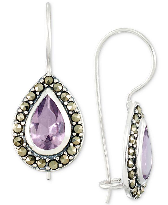 Macy's - Amethyst (2-3/4 ct. t.w.) & Marcasite Teardrop Drop Earrings in Sterling Silver