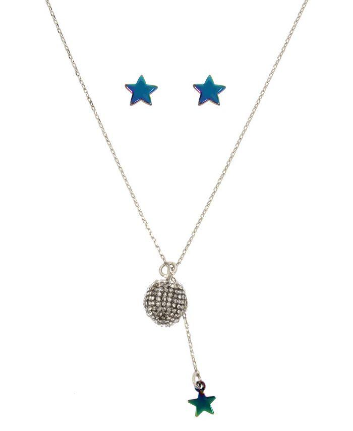 Betsey Johnson - Crystal Fireball Pendant Necklace & Star Stud Earrings Set