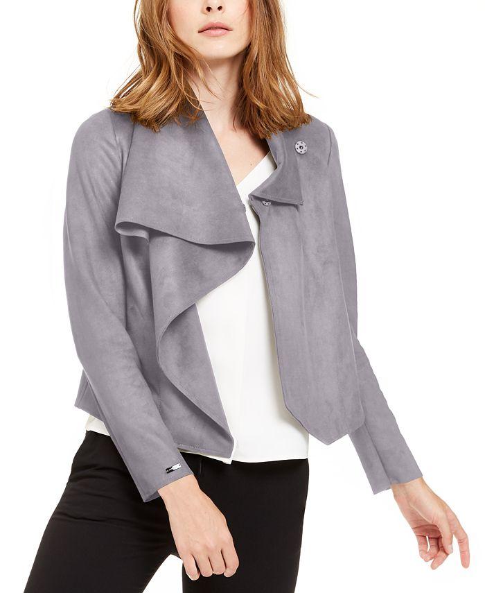 Anne Klein - Asymmetrical Faux-Suede Jacket
