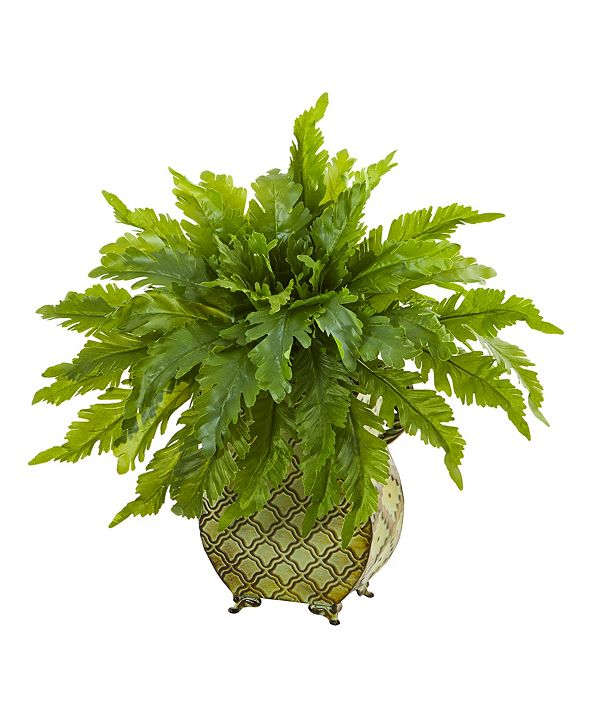 """Nearly Natural 18"""" Fern Artificial Plant in Metal Planter"""