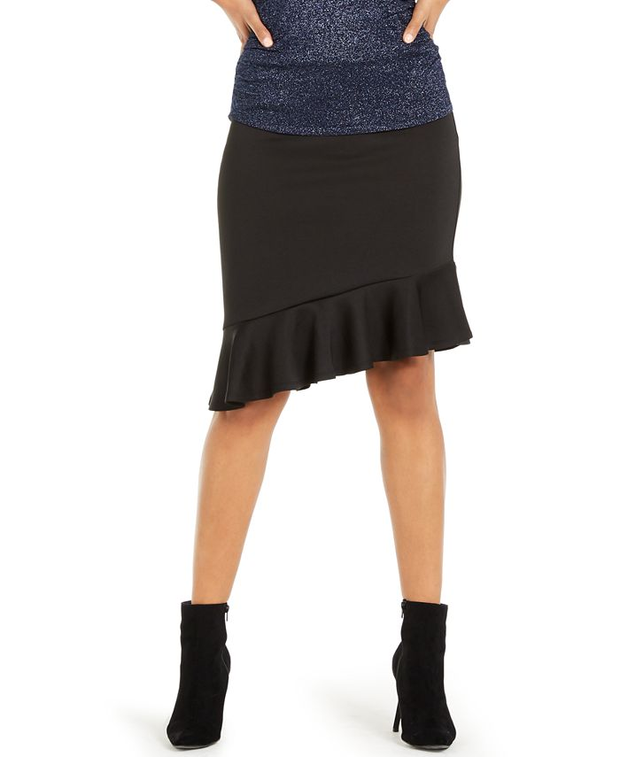 Thalia Sodi - Asymmetrical Ruffle Scuba Skirt