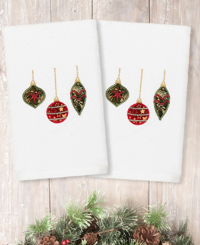 Linum Home - Christmas Ornaments Embroidered 100% Turkish Cotton 2-Pc. Hand Towel Set
