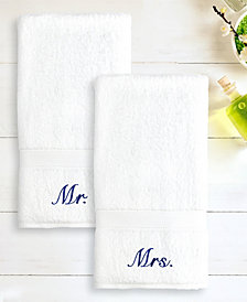 "Linum Home 100% Turkish Cotton ""Mr."" and ""Mrs."" 2-Pc. Hand Towel Set"