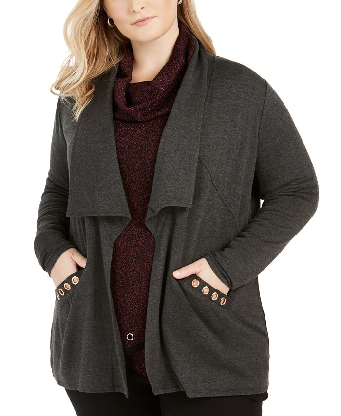 Belldini - Plus Size Grommet-Pocket Cardigan