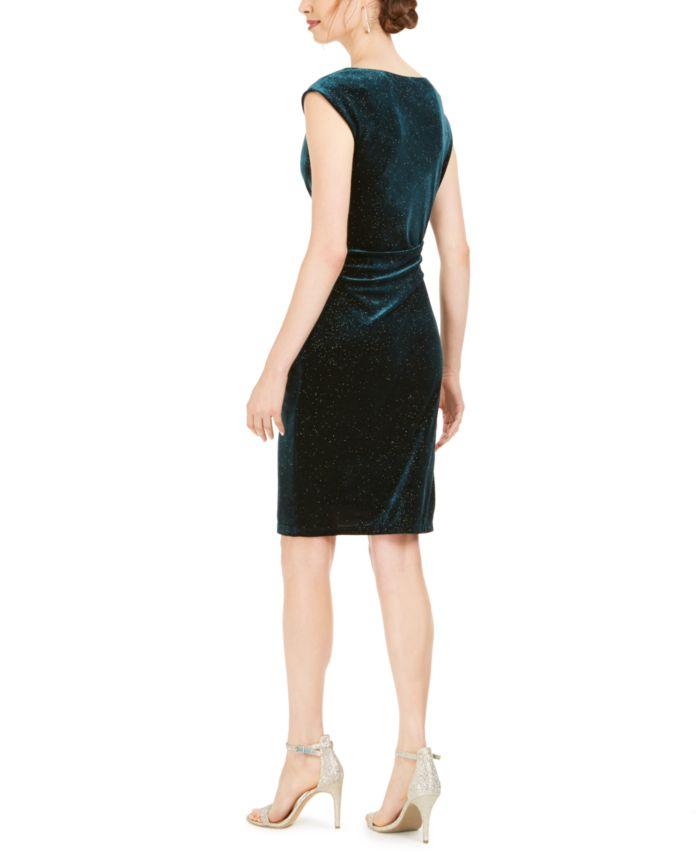 Jessica Howard Cowlneck Glitter-Velvet Sheath Dress & Reviews - Dresses - Women - Macy's
