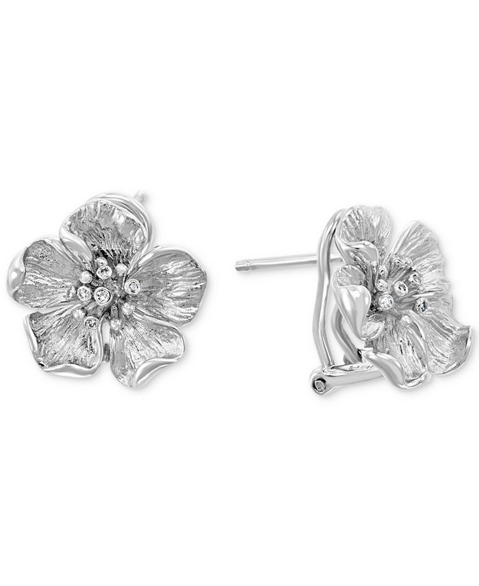 EFFY Collection - Diamond Accent Flower Stud Earrings (1/8 ct. t.w.) in Sterling Silver