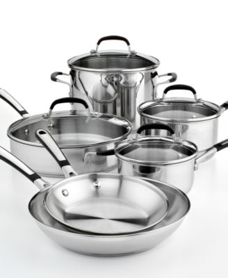 CLOSEOUT! Simply Calphalon Stainless Steel 10 Piece Cookware Set