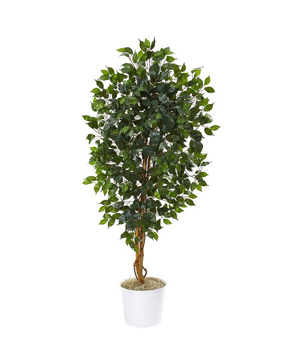 """Nearly Natural 65"""" Ficus Artificial Tree in White Tin Planter"""