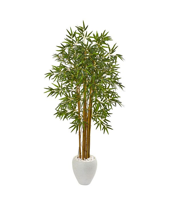 "Nearly Natural 65"" Multi Bambusa Bamboo Artificial Tree in White Planter"
