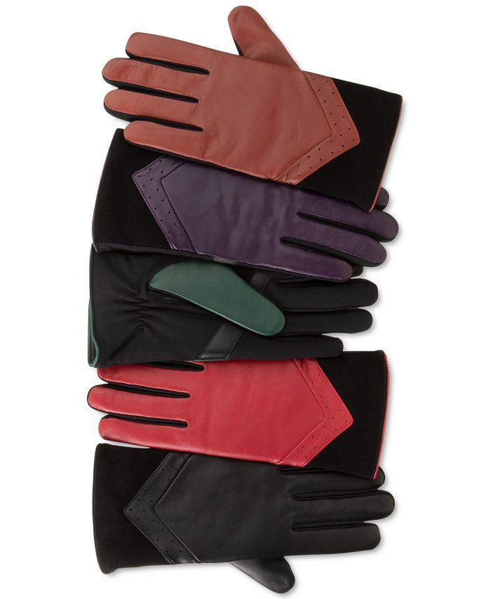 Isotoner Signature - Women's Leather and Suede smarTouch® Gloves With Plush Lining