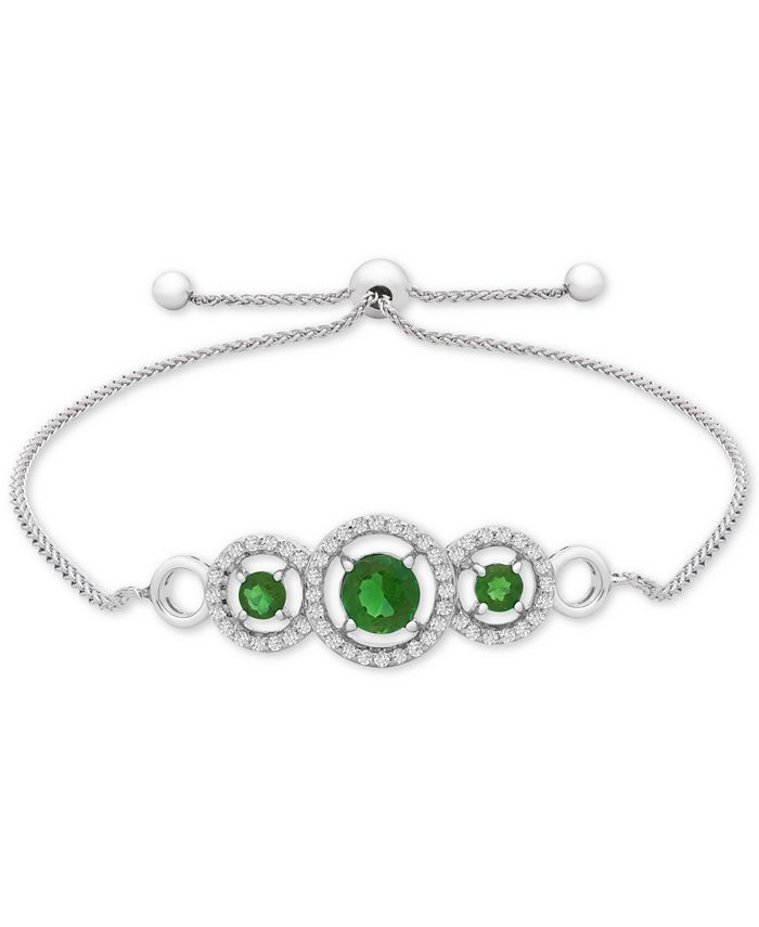 Macy's - Lab-Created Emerald (3/4 ct. t.w.) & White Sapphire (1/3 ct. t.w.) Bolo Bracelet in Sterling Silver