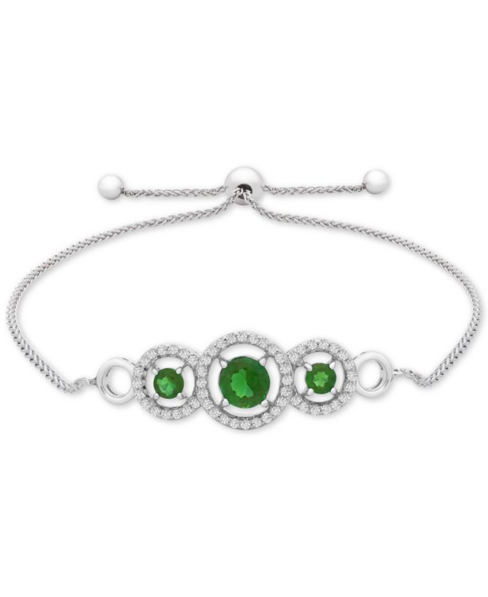 Macy's Lab-Created Emerald (3/4 ct. t.w.) & White Sapphire (1/3 ct. t.w.) Bolo Bracelet in Sterling Silver & Reviews - Bracelets - Jewelry & Watches - Macy's