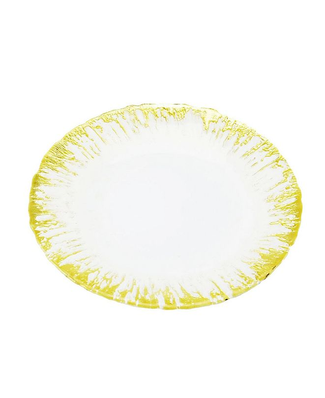 Classic Touch Set of 4 Milky Glass Dinner Plates with Flashy Gold-tone Design